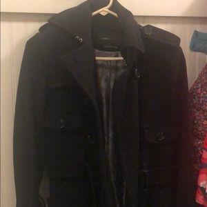 BCBG black wool winter coat. Size xxs.